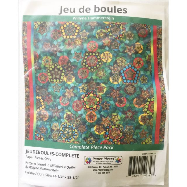 Jeu de boules By Willyne Hammerstein of Millefiori Quilts Complete Paper Piecing Pack by Paper Pieces Paper Pieces Kits & Templates - OzQuilts