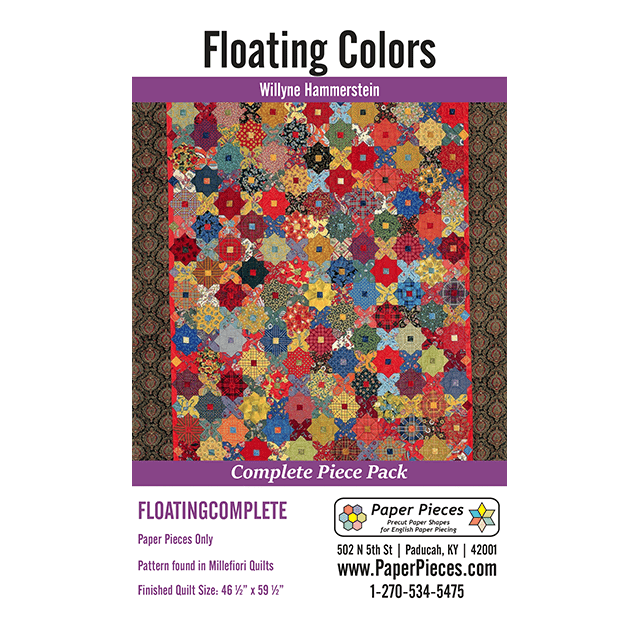 Floating Colours By Willyne Hammerstein of Millefiori Quilts Complete Paper Piecing Pack by Paper Pieces - EPP Papers