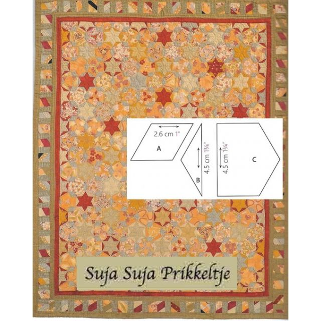 Suja Suja Prikkeltje Halo Patchwork Template Set from Millefiori Quilts 4 by Willyne Hammerstein by OzQuilts Millefiori Book 4 & Templates - OzQuilts