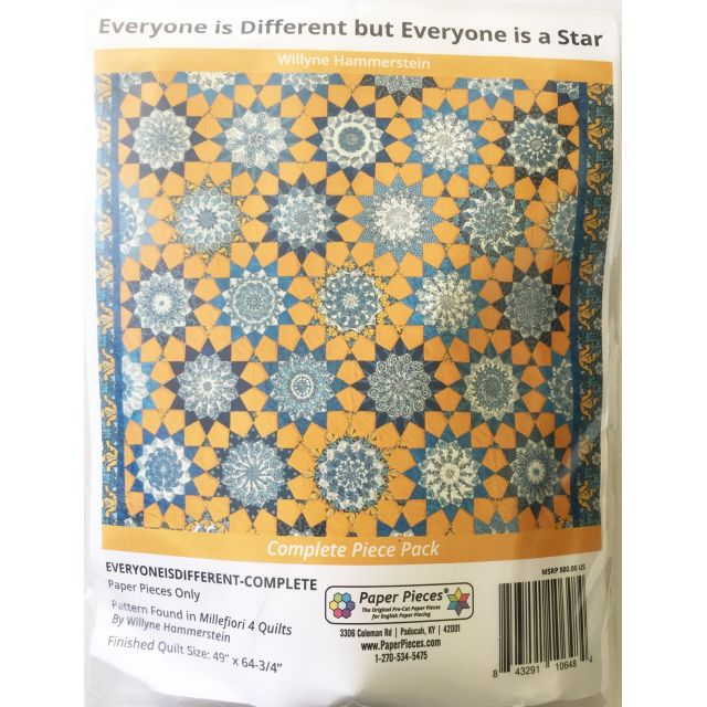 Everyone is Different but Everyone is A Star By Willyne Hammerstein of Millefiori Quilts Complete Paper Piecing Pack by Paper Pieces - Paper Pieces Kits & Templates
