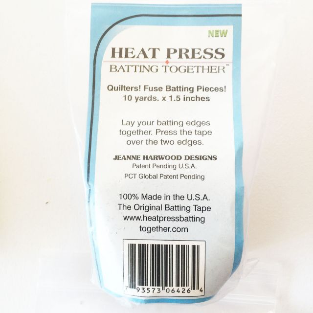 """Heat Press Batting Together , Black , 1.5"""" wide x 10 yards by HPBT Inc Batting Spray, Tape & Accessories - OzQuilts"""