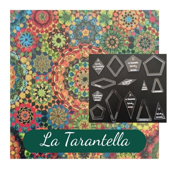 La Tarantella Template Set from Millefiori Quilts 3 - Halo Set in Original Size by OzQuilts EPP Templates - OzQuilts