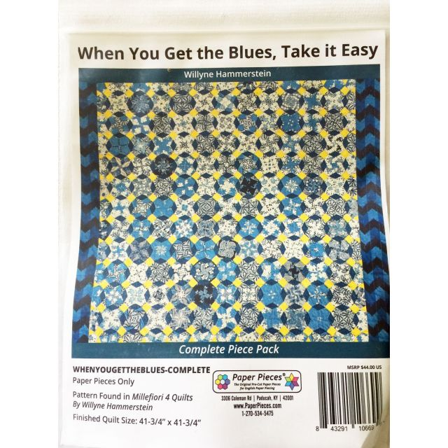 When You Get The Blues By Willyne Hammerstein of Millefiori Quilts Complete Paper Piecing Pack by Paper Pieces Paper Pieces Kits & Templates - OzQuilts