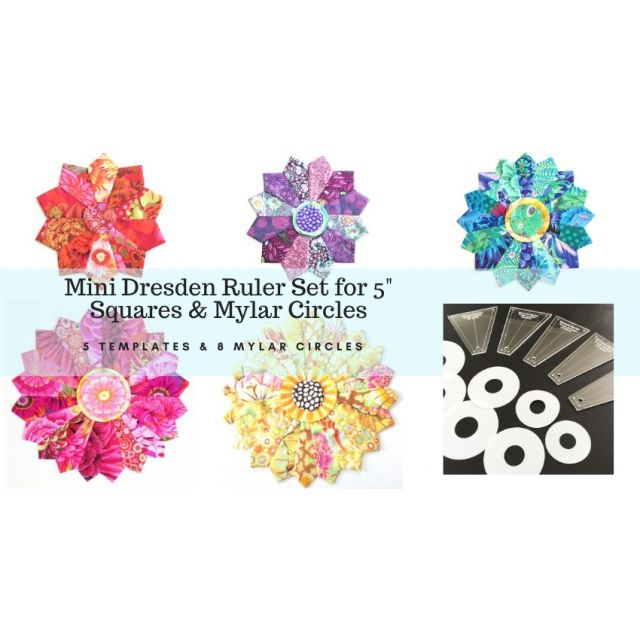 "Mini Dresden Plate Template Set for 5"" Squares and Mylar Circles for the centres by OzQuilts Quilt Blocks - OzQuilts"