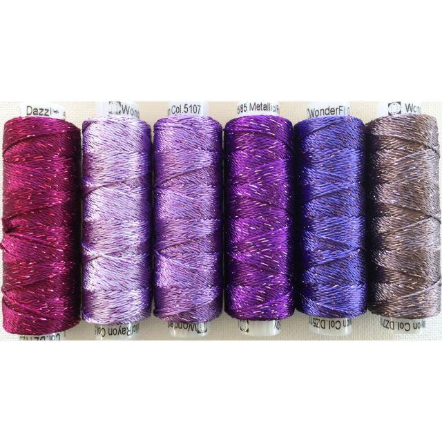 Dazzle Thread Pack- Purple Rain by Sue Spargo Dazzle - Sue Spargo Dazzle Rayon & Metallic