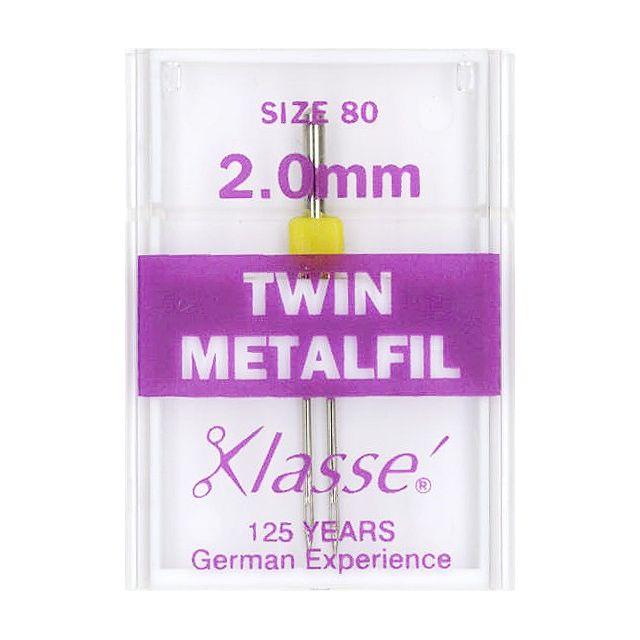 Klasse Metafil/Embroidery Twin Machine Needle Size 80/12 2.00mm by Klasse - Machines Needles
