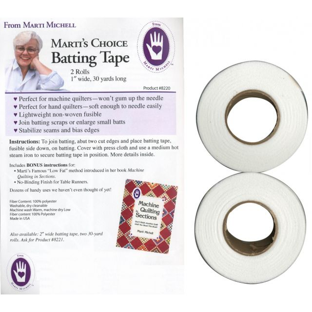 "Marti Michell Choice Batting Tape, 2 rolls, 1"" x 30 yards by Marti Michell Batting Spray, Tape & Accessories - OzQuilts"
