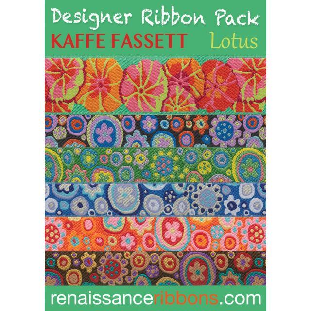 Kaffe Fassett Lotus Designer Ribbon Pack by Renaissance Ribbons - Ribbon