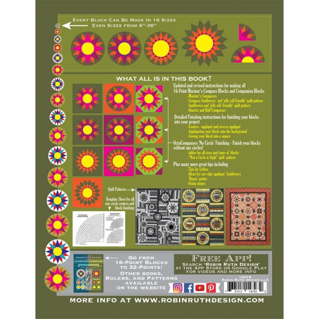Fat Robin 16 Point Mariner's Compass Book and Ruler Combo by Robin Ruth Designs Robin Ruth - OzQuilts