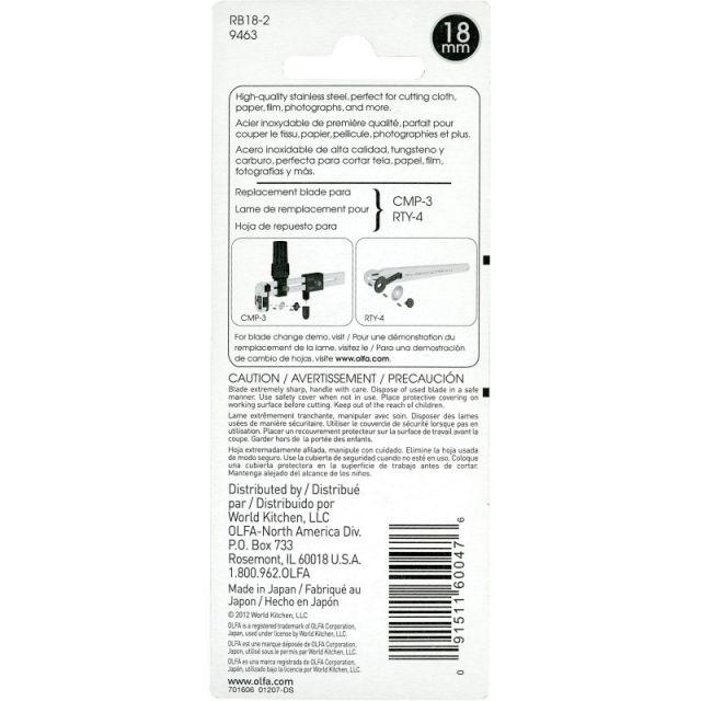 OLFA 18mm Rotary Blades (2) by Olfa - Blades