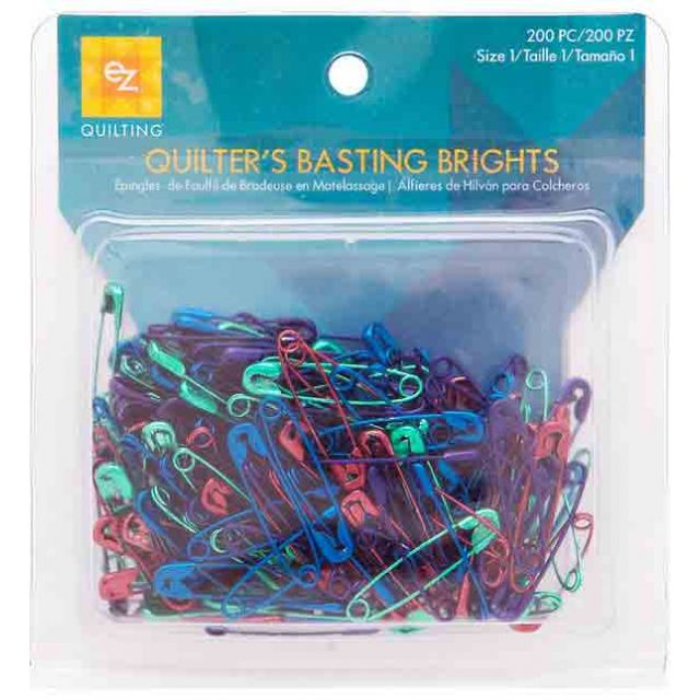 EZ Quilting Basting Brights 200 Anodised Safety Pins