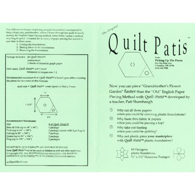 Quilt Patis _ x 1_ sides Gemstone Pentagon