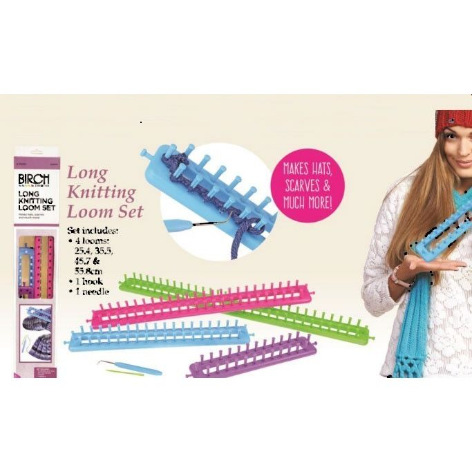 Knitting Loom Set : Knitting looms birch long loom set