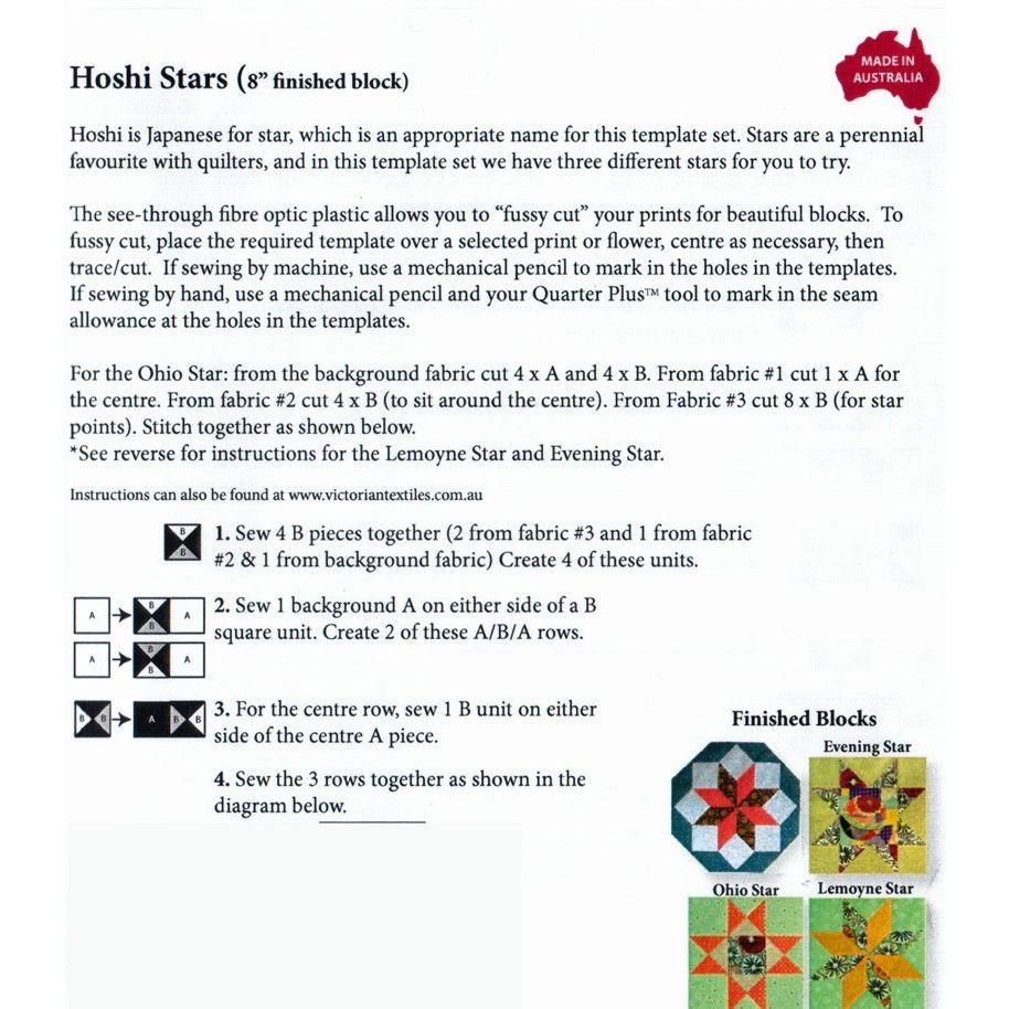 Matildas Own Hoshi Stars 8 Patchwork Template Set By Star Diagram